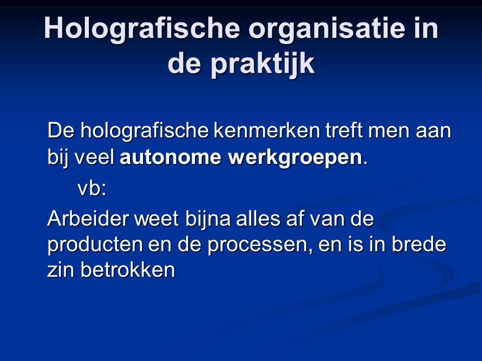 Holografische organisatie in de praktijk De holografische kenmerken treft men aan bij veel autonome werkgroepen. vb: Arbeider weet bijna alles af van