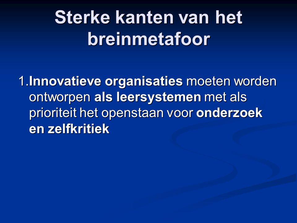 Sterke kanten van het breinmetafoor 1.Innovatieve organisaties moeten worden ontworpen als leersystemen met als prioriteit het openstaan voor onderzoe