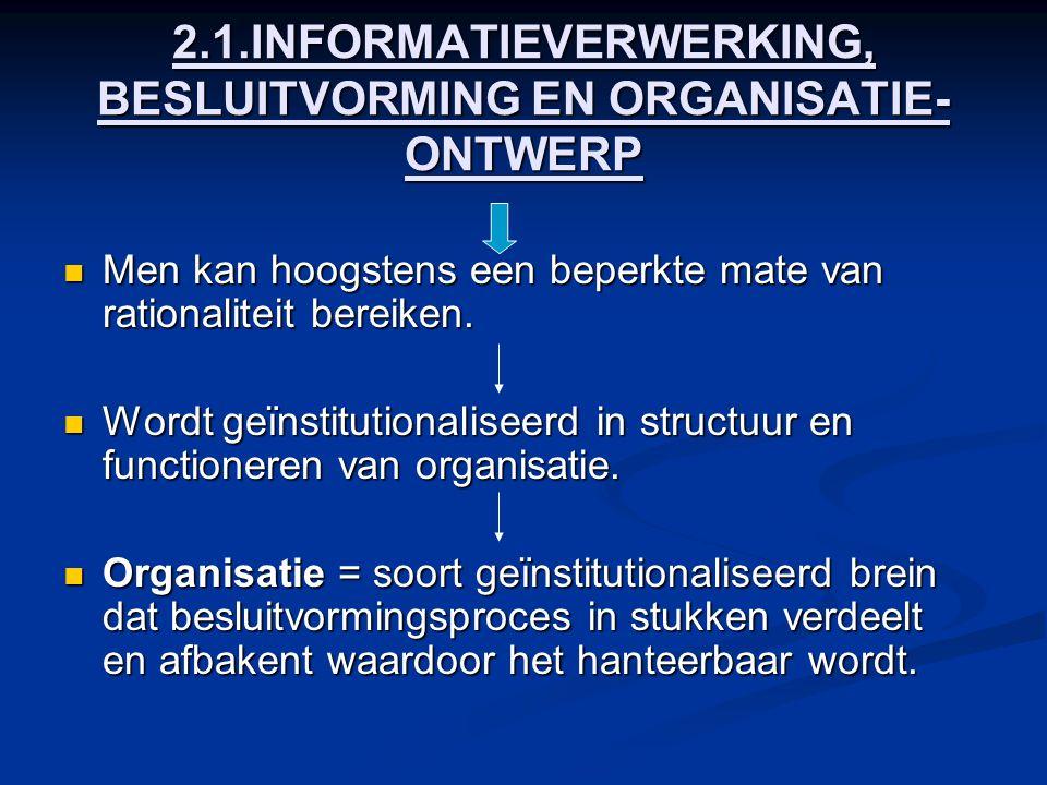 2.1.INFORMATIEVERWERKING, BESLUITVORMING EN ORGANISATIE- ONTWERP Men kan hoogstens een beperkte mate van rationaliteit bereiken. Men kan hoogstens een