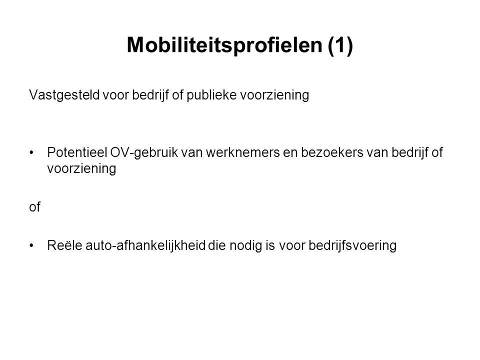 Mobiliteitsprofielen (1) Vastgesteld voor bedrijf of publieke voorziening Potentieel OV-gebruik van werknemers en bezoekers van bedrijf of voorziening