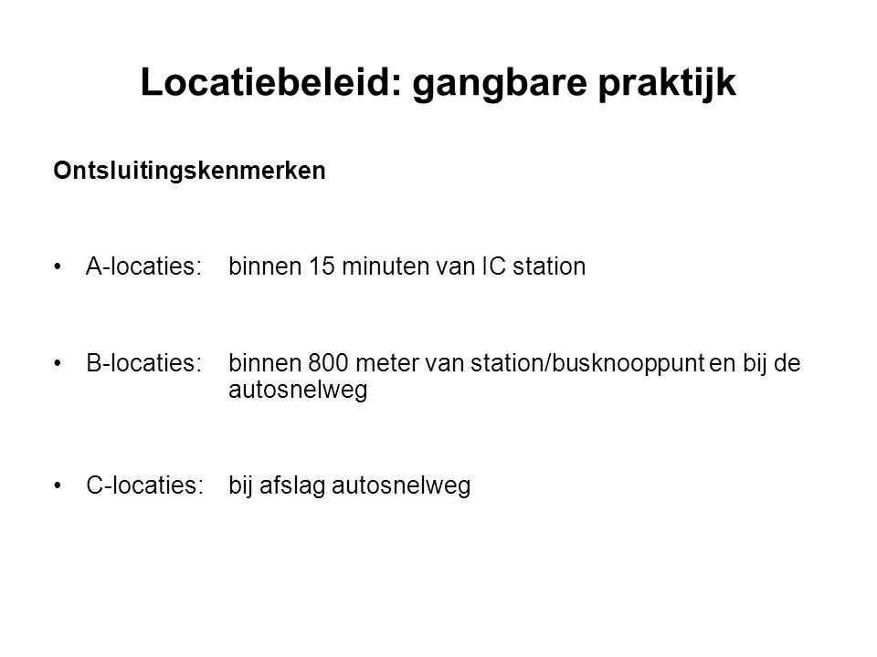 Locatiebeleid: gangbare praktijk Ontsluitingskenmerken A-locaties:binnen 15 minuten van IC station B-locaties:binnen 800 meter van station/busknooppun