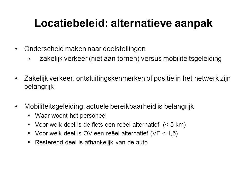 Locatiebeleid: alternatieve aanpak Onderscheid maken naar doelstellingen  zakelijk verkeer (niet aan tornen) versus mobiliteitsgeleiding Zakelijk ver