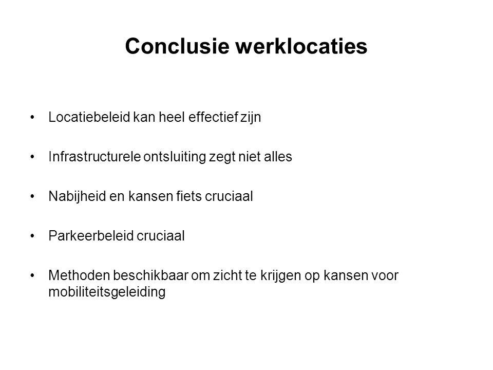 Conclusie werklocaties Locatiebeleid kan heel effectief zijn Infrastructurele ontsluiting zegt niet alles Nabijheid en kansen fiets cruciaal Parkeerbe