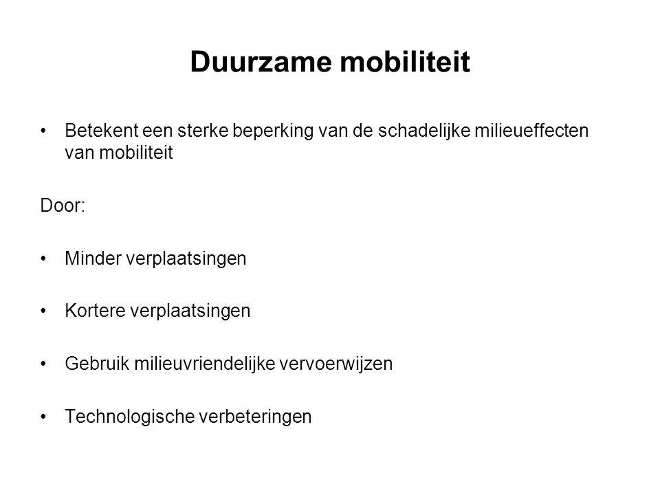 Duurzame mobiliteit Betekent een sterke beperking van de schadelijke milieueffecten van mobiliteit Door: Minder verplaatsingen Kortere verplaatsingen