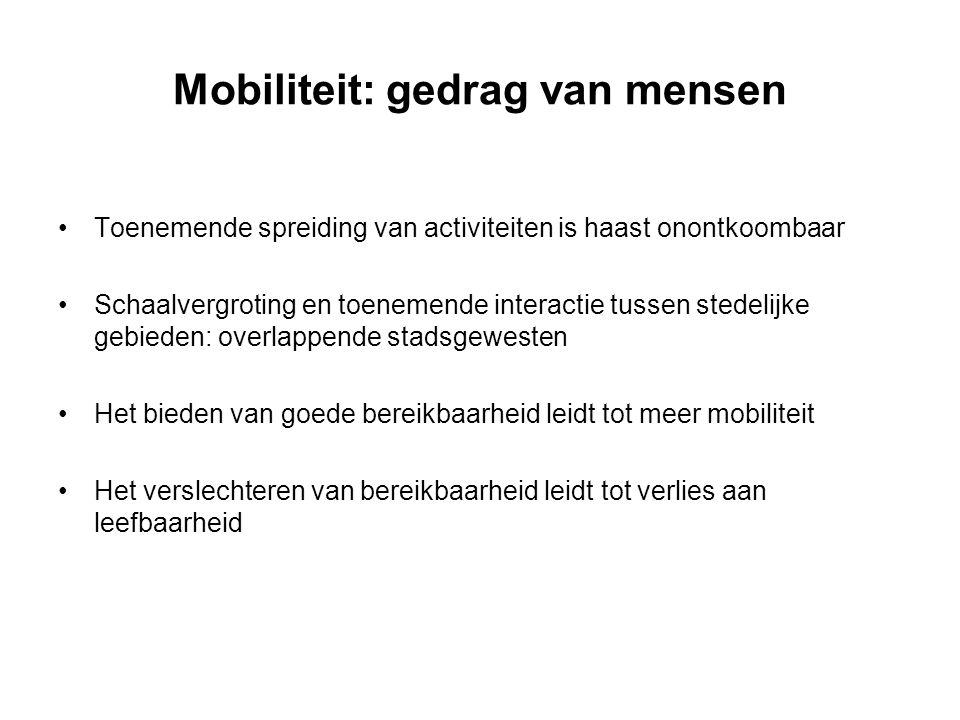 Mobiliteit: gedrag van mensen Toenemende spreiding van activiteiten is haast onontkoombaar Schaalvergroting en toenemende interactie tussen stedelijke