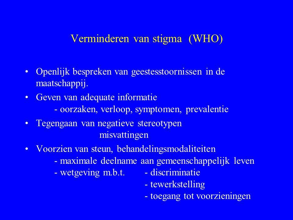 Verminderen van stigma (WHO) Openlijk bespreken van geestesstoornissen in de maatschappij. Geven van adequate informatie - oorzaken, verloop, symptome