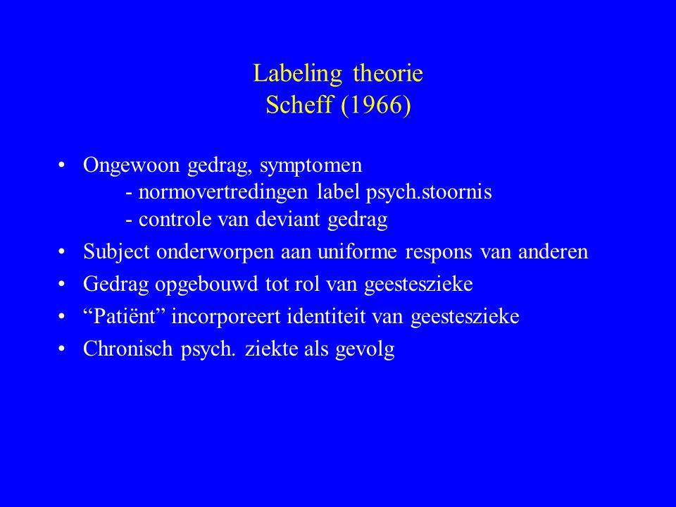 Labeling theorie Scheff (1966) Ongewoon gedrag, symptomen - normovertredingen label psych.stoornis - controle van deviant gedrag Subject onderworpen a