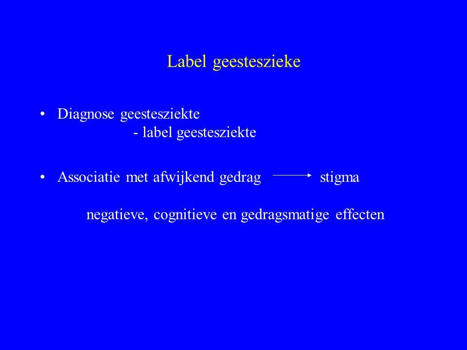 Label geesteszieke Diagnose geestesziekte - label geestesziekte Associatie met afwijkend gedragstigma negatieve, cognitieve en gedragsmatige effecten