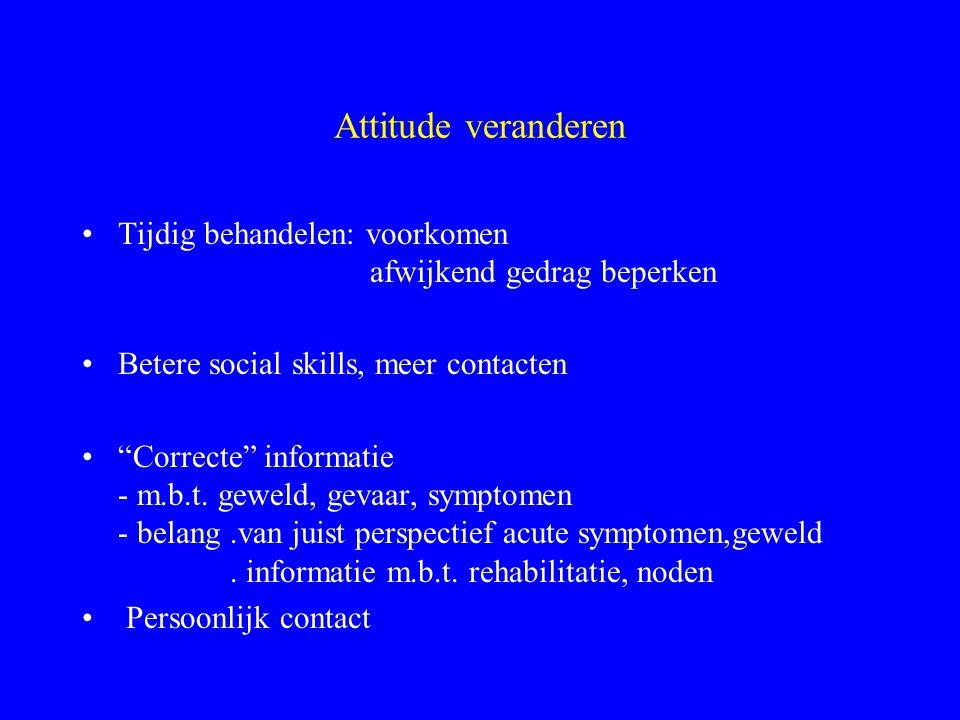 """Attitude veranderen Tijdig behandelen: voorkomen afwijkend gedrag beperken Betere social skills, meer contacten """"Correcte"""" informatie - m.b.t. geweld,"""