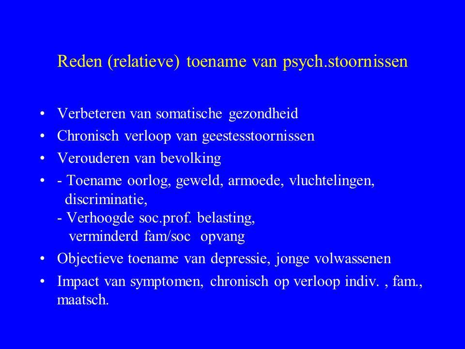 Reden (relatieve) toename van psych.stoornissen Verbeteren van somatische gezondheid Chronisch verloop van geestesstoornissen Verouderen van bevolking