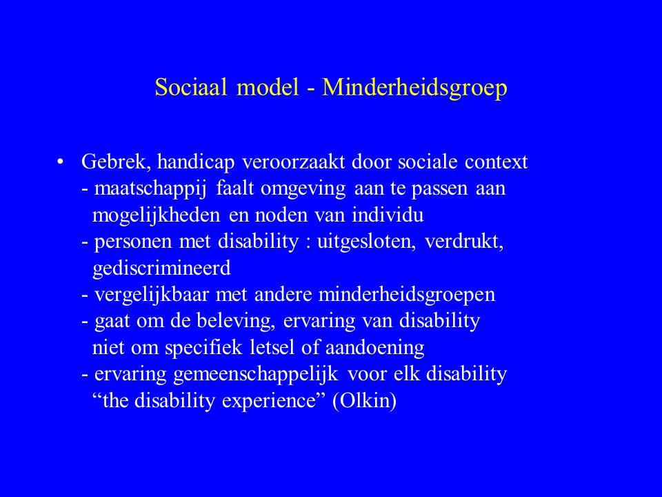 Sociaal model - Minderheidsgroep Gebrek, handicap veroorzaakt door sociale context - maatschappij faalt omgeving aan te passen aan mogelijkheden en no