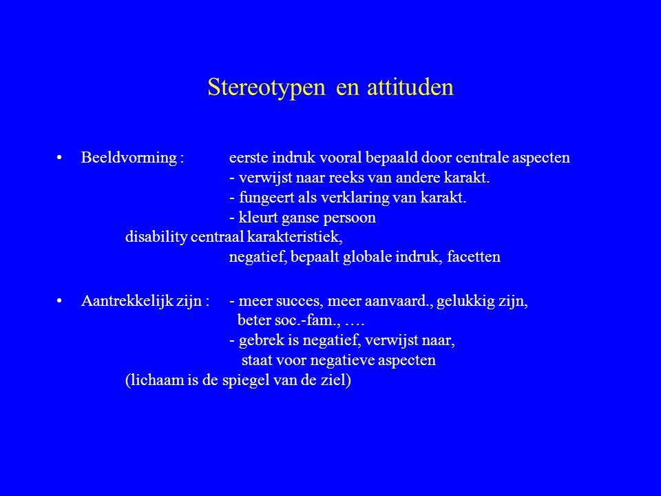Stereotypen en attituden Beeldvorming : eerste indruk vooral bepaald door centrale aspecten - verwijst naar reeks van andere karakt. - fungeert als ve