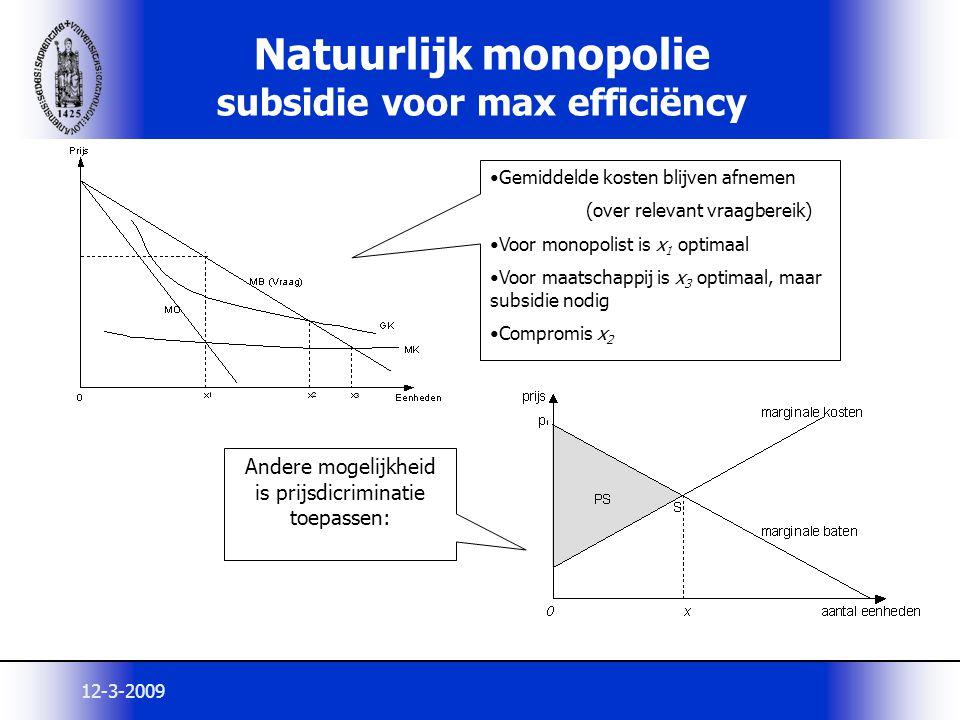 12-3-2009 Natuurlijk monopolie subsidie voor max efficiëncy Andere mogelijkheid is prijsdicriminatie toepassen: Gemiddelde kosten blijven afnemen (ove