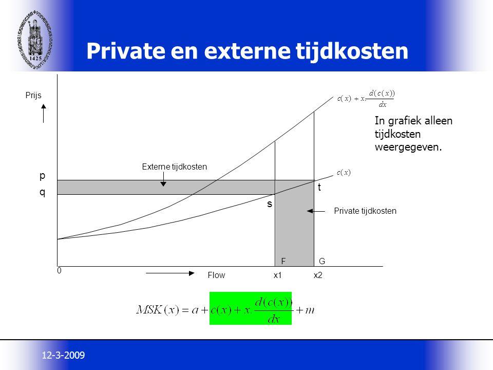 12-3-2009 Private en externe tijdkosten In grafiek alleen tijdkosten weergegeven. x1 x2 0 ) ( x c dx x c d x x c )) ( (. ) (  Prijs Flow Private tijd