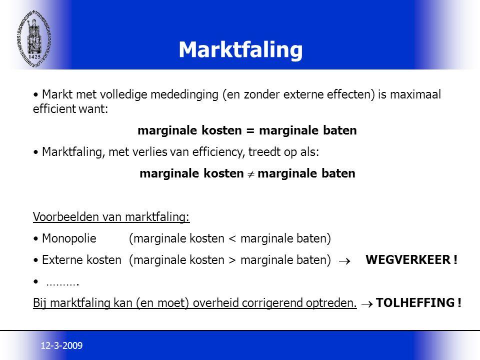 12-3-2009 Marktfaling Markt met volledige mededinging (en zonder externe effecten) is maximaal efficient want: marginale kosten = marginale baten Mark
