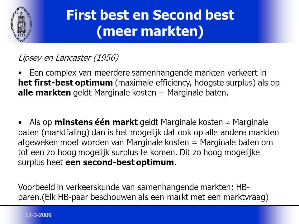 12-3-2009 First best en Second best (meer markten) Lipsey en Lancaster (1956) Een complex van meerdere samenhangende markten verkeert in het first-bes