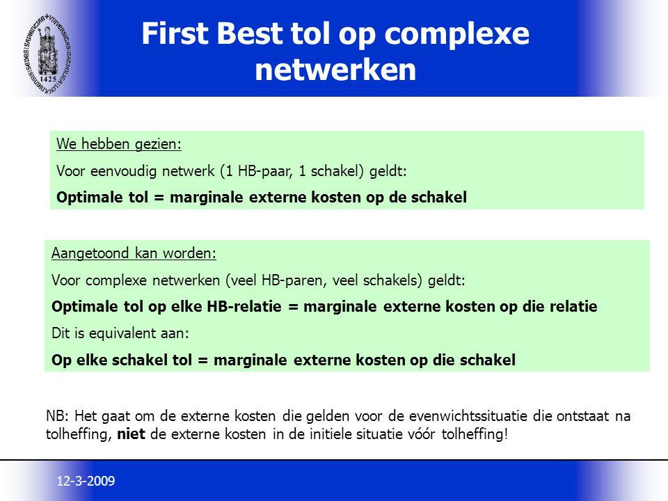 12-3-2009 First Best tol op complexe netwerken We hebben gezien: Voor eenvoudig netwerk (1 HB-paar, 1 schakel) geldt: Optimale tol = marginale externe
