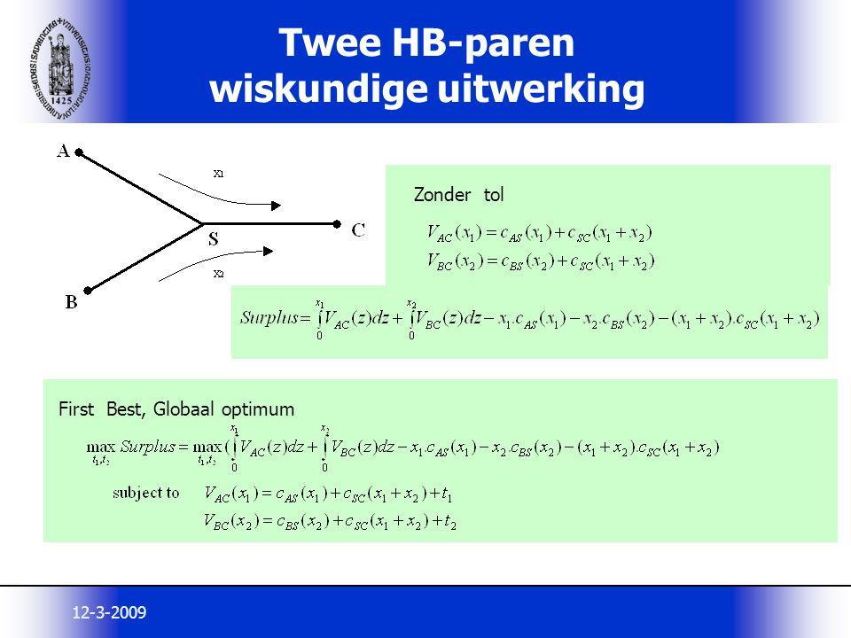 12-3-2009 Twee HB-paren wiskundige uitwerking Zonder tol First Best, Globaal optimum