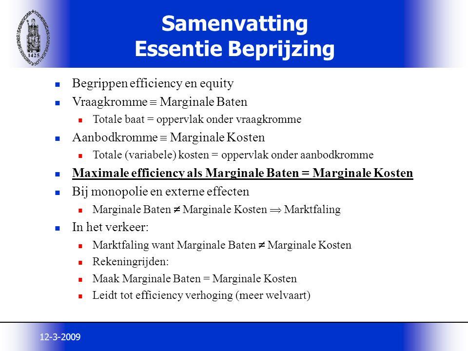 12-3-2009 Samenvatting Essentie Beprijzing Begrippen efficiency en equity Vraagkromme  Marginale Baten Totale baat = oppervlak onder vraagkromme Aanb