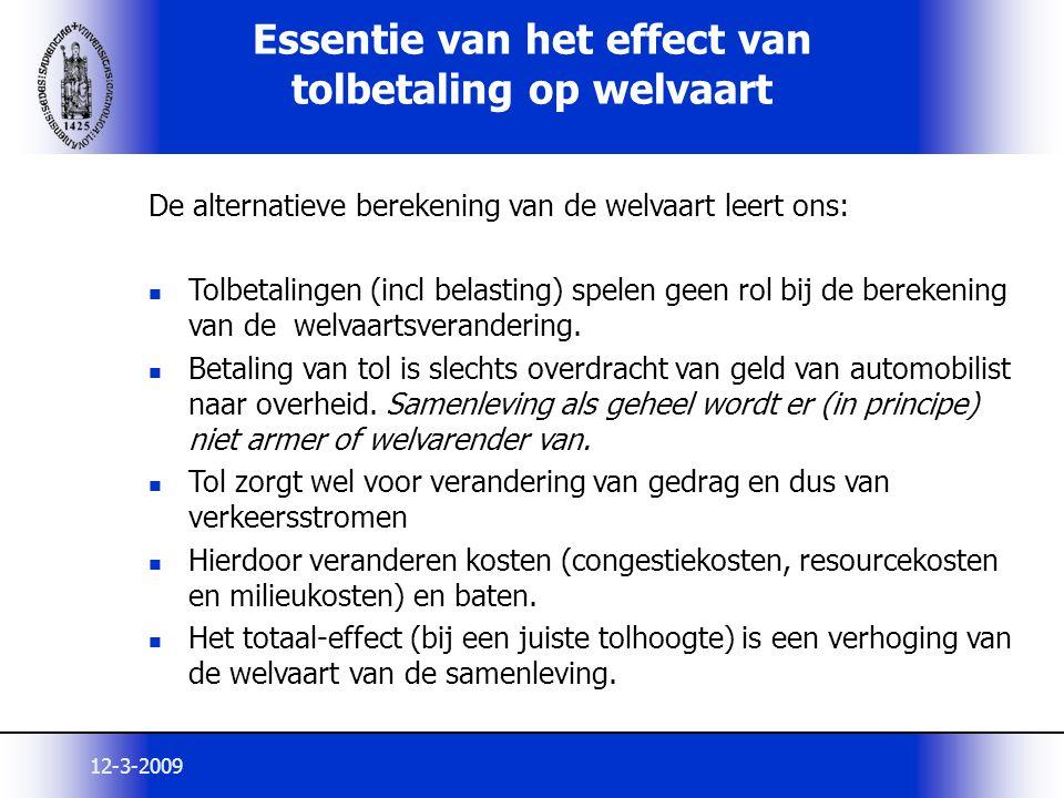 12-3-2009 Essentie van het effect van tolbetaling op welvaart De alternatieve berekening van de welvaart leert ons: Tolbetalingen (incl belasting) spe