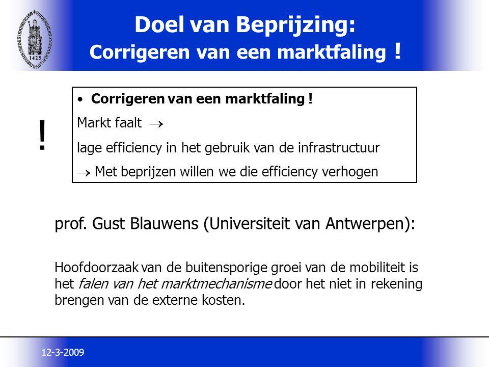 12-3-2009 Doel van Beprijzing: Corrigeren van een marktfaling ! prof. Gust Blauwens (Universiteit van Antwerpen): Hoofdoorzaak van de buitensporige gr