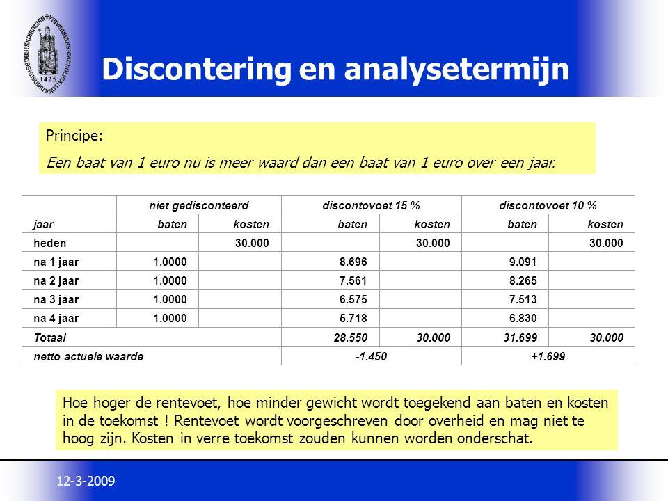 12-3-2009 Discontering en analysetermijn niet gedisconteerddiscontovoet 15 %discontovoet 10 % jaarbatenkostenbatenkostenbatenkosten heden 30.000 na 1