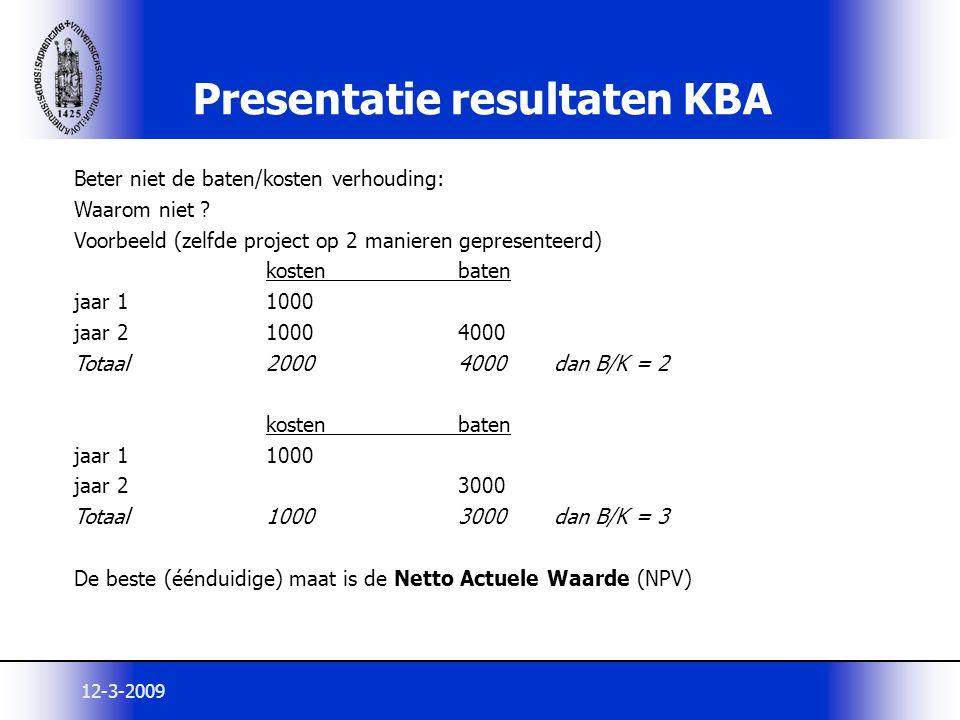 12-3-2009 Presentatie resultaten KBA Beter niet de baten/kosten verhouding: Waarom niet ? Voorbeeld (zelfde project op 2 manieren gepresenteerd) koste
