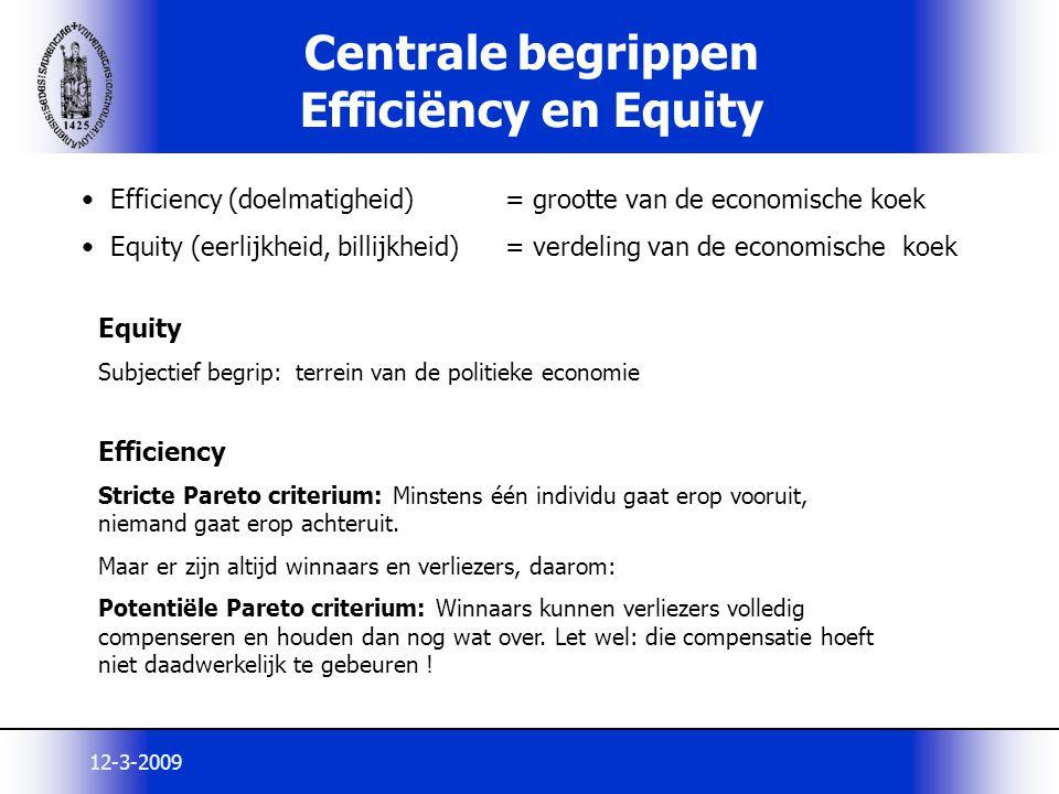12-3-2009 Centrale begrippen Efficiëncy en Equity Efficiency (doelmatigheid) = grootte van de economische koek Equity (eerlijkheid, billijkheid)= verd