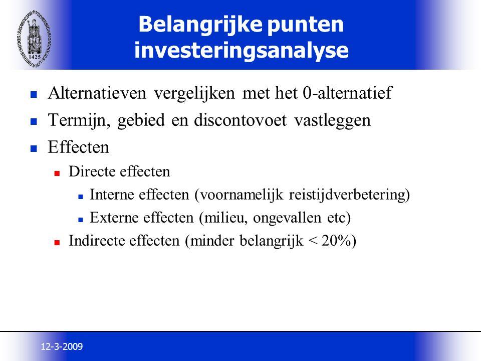 12-3-2009 Alternatieven vergelijken met het 0-alternatief Termijn, gebied en discontovoet vastleggen Effecten Directe effecten Interne effecten (voorn