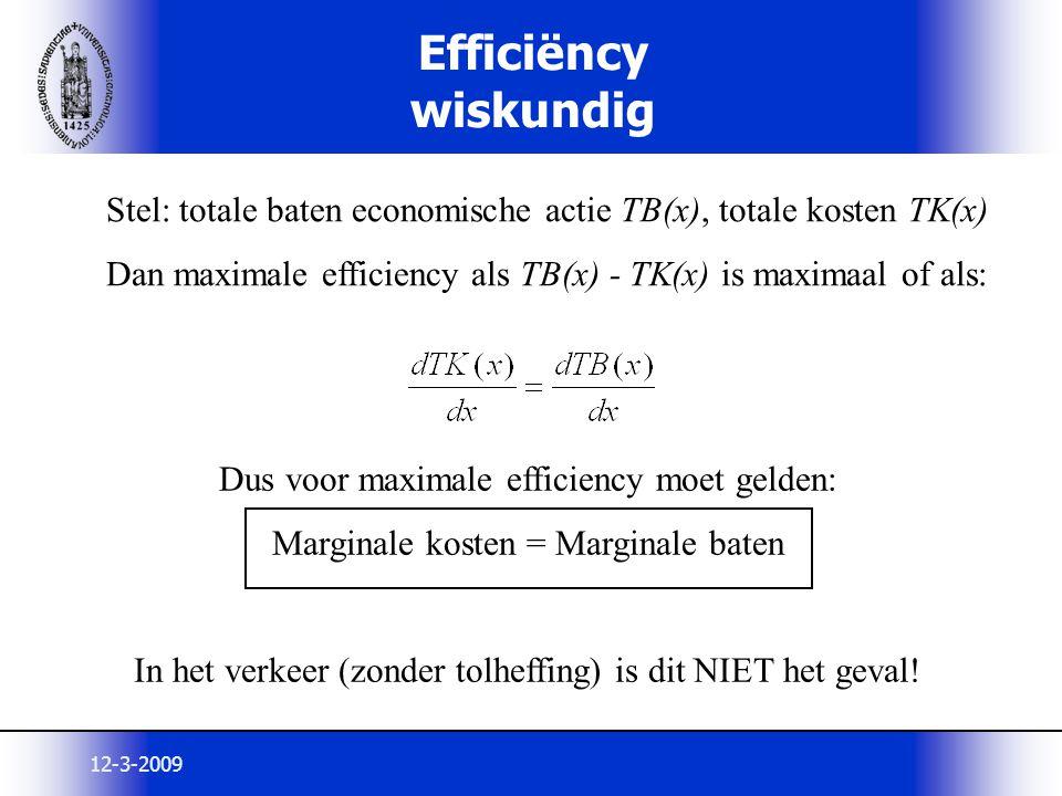 12-3-2009 Efficiëncy wiskundig Stel: totale baten economische actie TB(x), totale kosten TK(x) Dan maximale efficiency als TB(x) - TK(x) is maximaal o