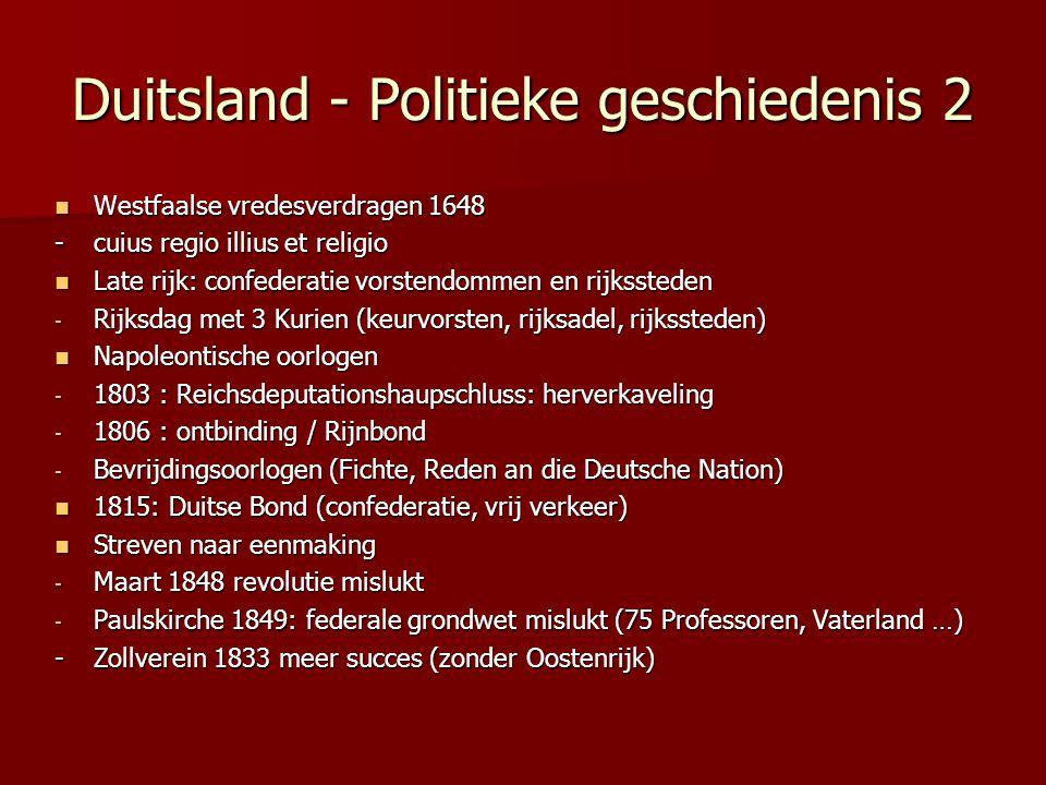 Duitsland - Politieke geschiedenis 2 Westfaalse vredesverdragen 1648 Westfaalse vredesverdragen 1648 - cuius regio illius et religio Late rijk: confed
