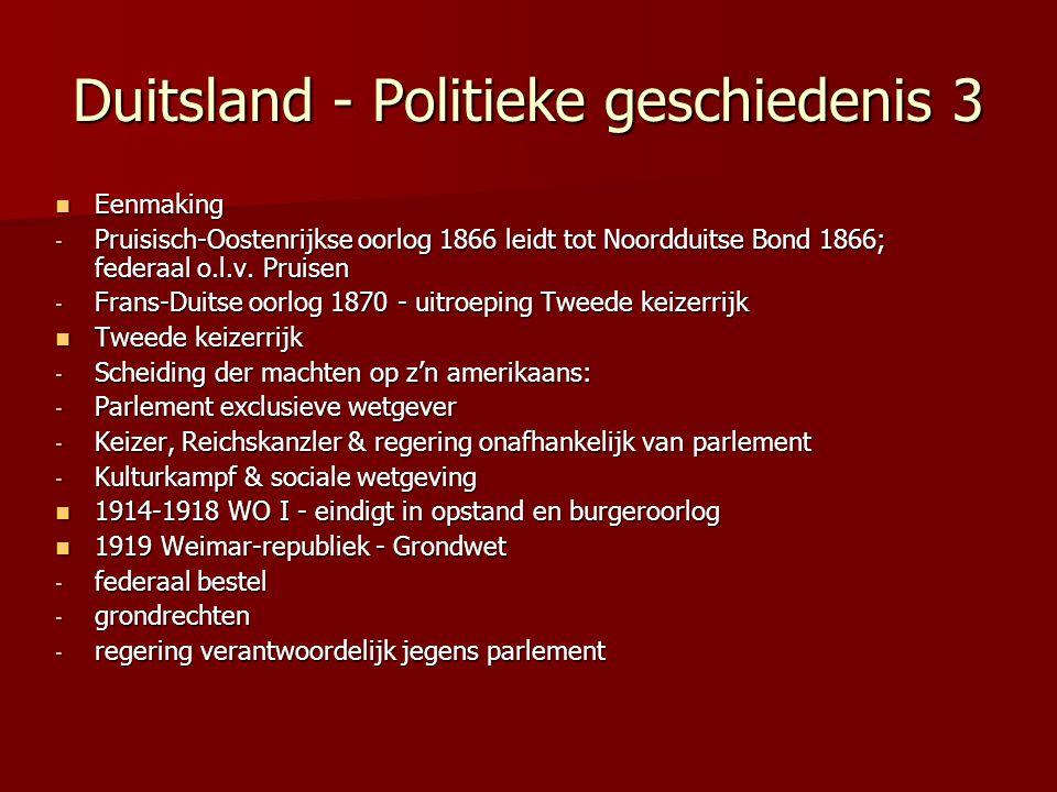 Duitsland - Politieke geschiedenis 3 Eenmaking Eenmaking - Pruisisch-Oostenrijkse oorlog 1866 leidt tot Noordduitse Bond 1866; federaal o.l.v. Pruisen