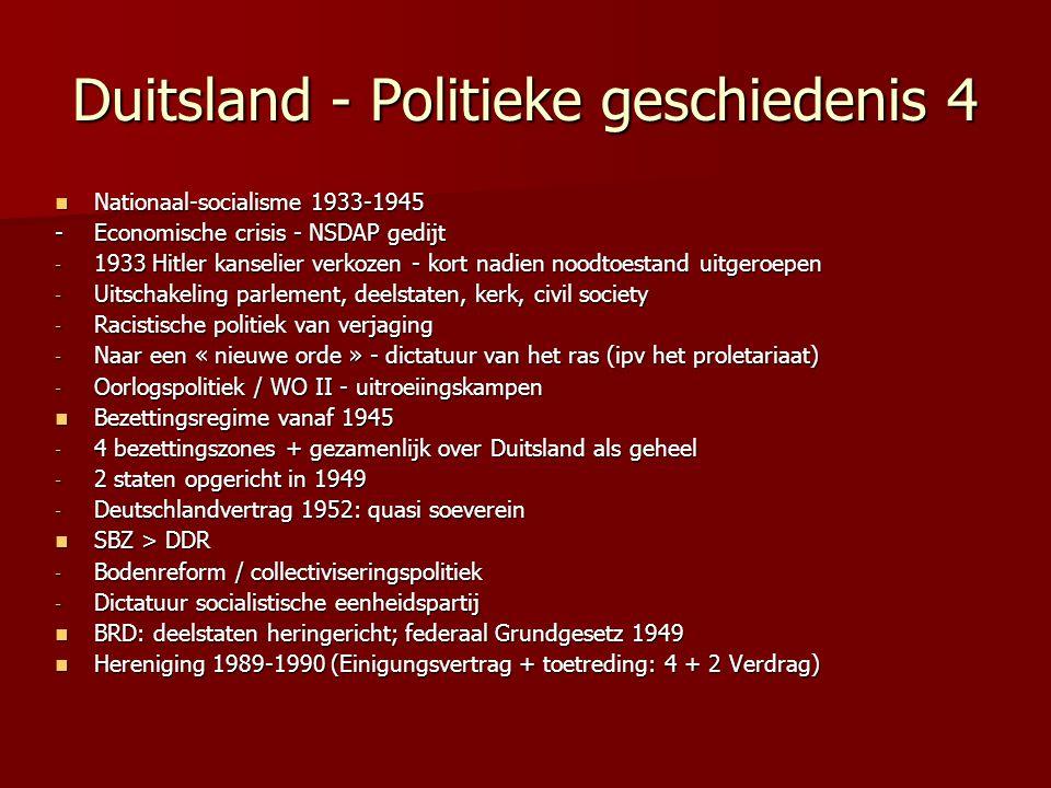 Duitsland - Politieke geschiedenis 4 Nationaal-socialisme 1933-1945 Nationaal-socialisme 1933-1945 - Economische crisis - NSDAP gedijt - 1933 Hitler k