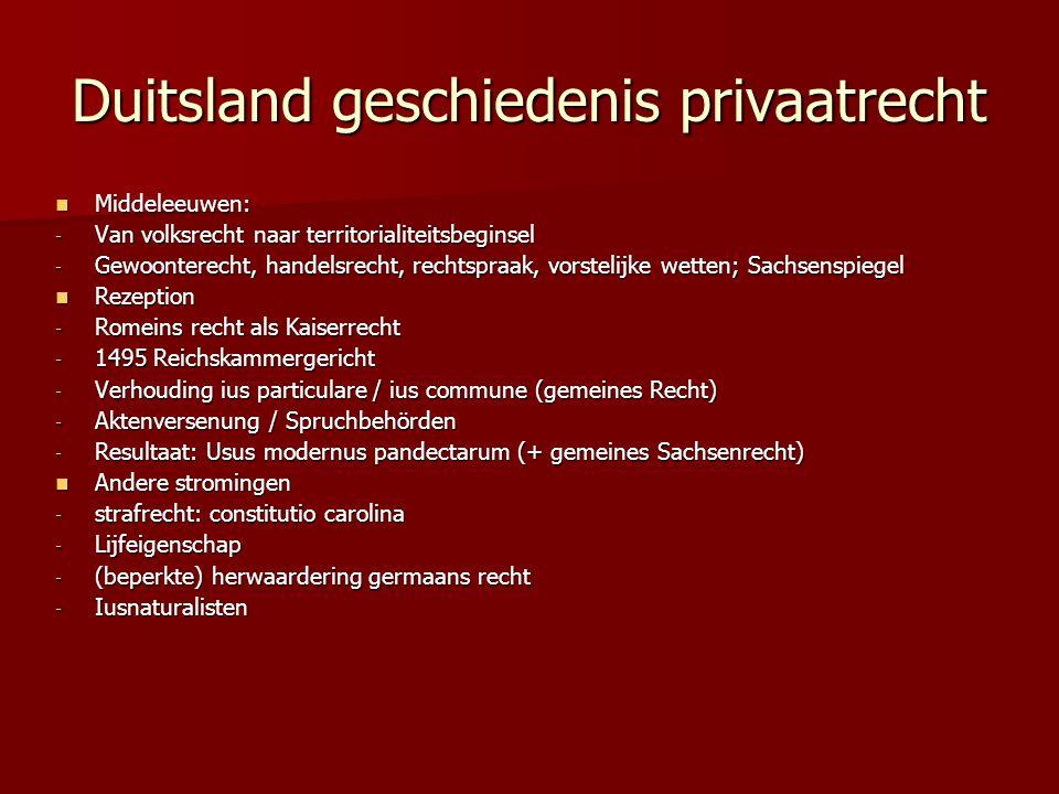 Duitsland geschiedenis privaatrecht Middeleeuwen: Middeleeuwen: - Van volksrecht naar territorialiteitsbeginsel - Gewoonterecht, handelsrecht, rechtsp