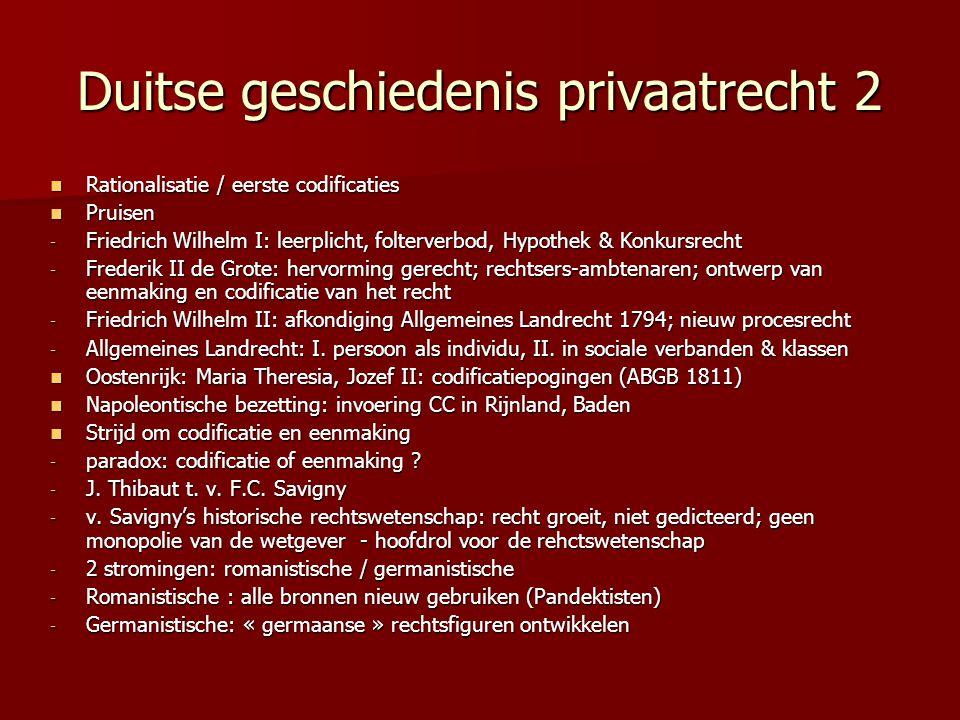 Duitse geschiedenis privaatrecht 2 Rationalisatie / eerste codificaties Rationalisatie / eerste codificaties Pruisen Pruisen - Friedrich Wilhelm I: le