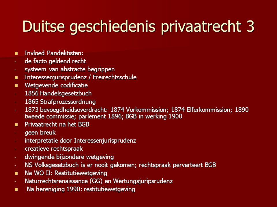 Duitse geschiedenis privaatrecht 3 Invloed Pandektisten: Invloed Pandektisten: - de facto geldend recht - systeem van abstracte begrippen Interessenju