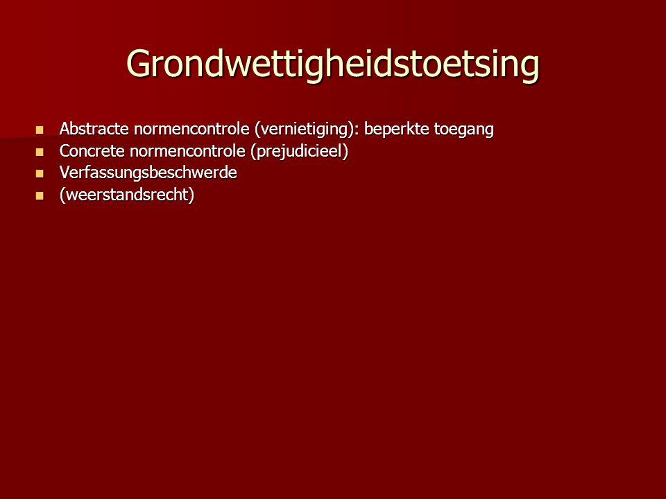 Grondwettigheidstoetsing Abstracte normencontrole (vernietiging): beperkte toegang Abstracte normencontrole (vernietiging): beperkte toegang Concrete