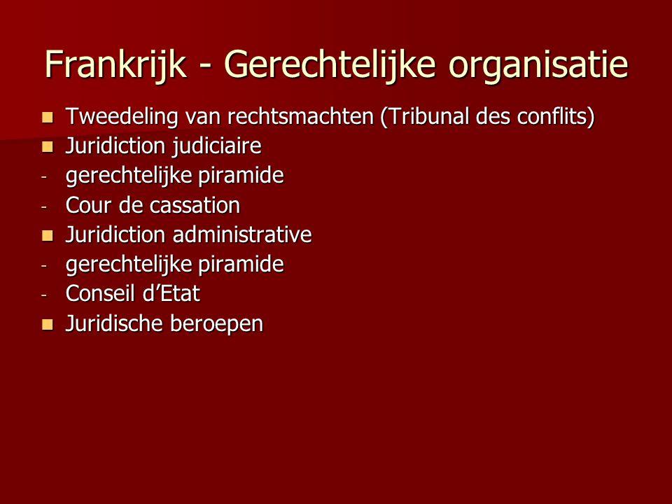 Frankrijk - Gerechtelijke organisatie Tweedeling van rechtsmachten (Tribunal des conflits) Tweedeling van rechtsmachten (Tribunal des conflits) Juridi