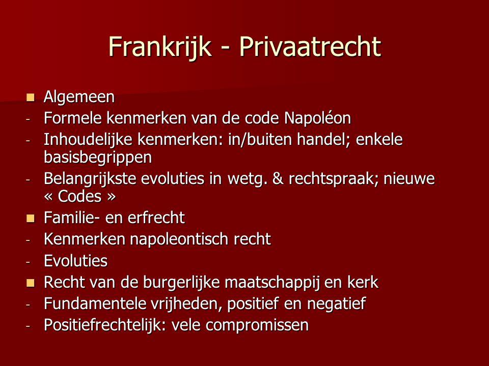 Frankrijk - Privaatrecht Algemeen Algemeen - Formele kenmerken van de code Napoléon - Inhoudelijke kenmerken: in/buiten handel; enkele basisbegrippen