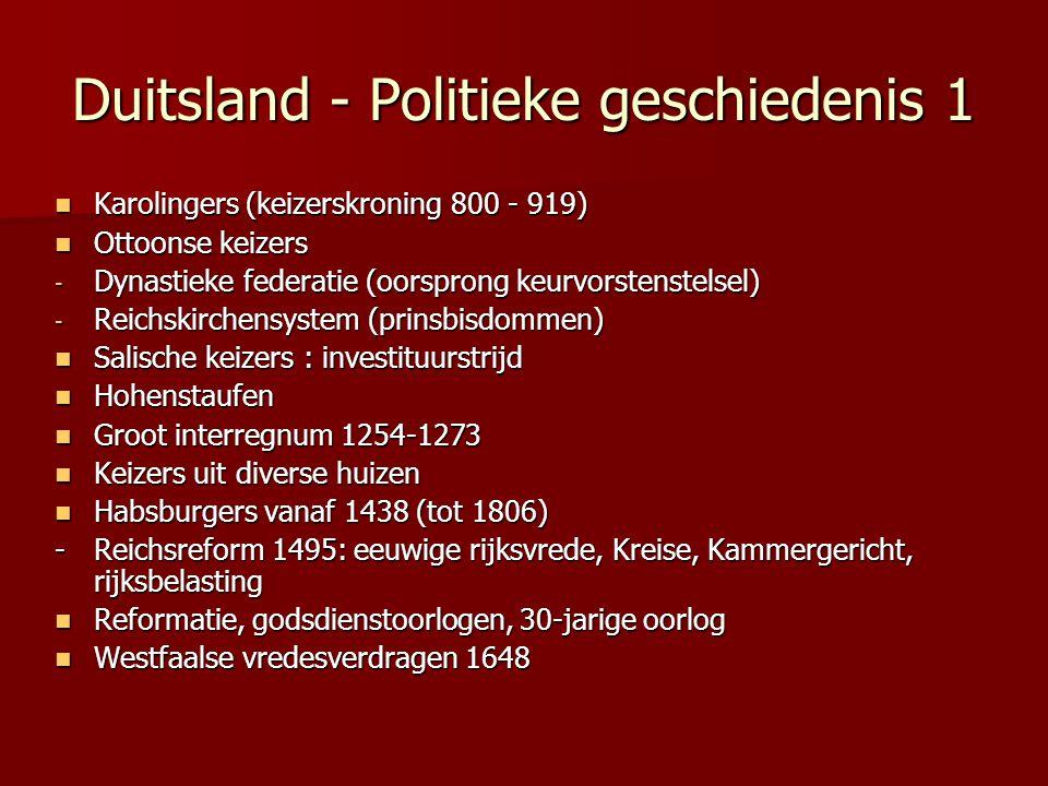 Duitsland - Politieke geschiedenis 1 Karolingers (keizerskroning 800 - 919) Karolingers (keizerskroning 800 - 919) Ottoonse keizers Ottoonse keizers -