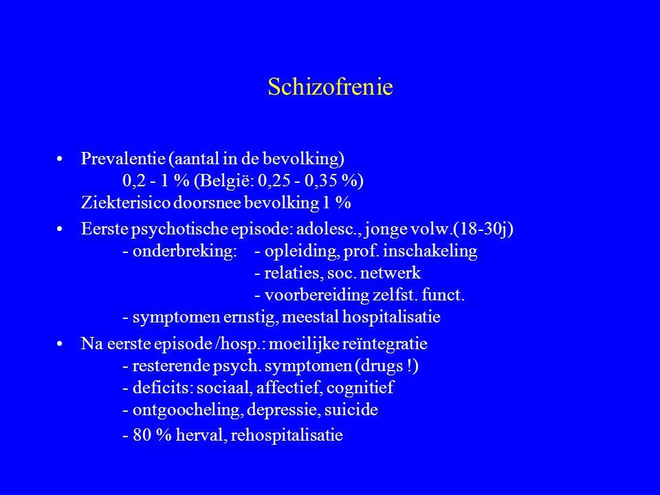 Schizofrene psychose Bekend,- misvattingen (oorzaak, sympt., behandeling) - negatief stigma (gevaar, vreemd) - positief: artistiek, nonconvent. Freque