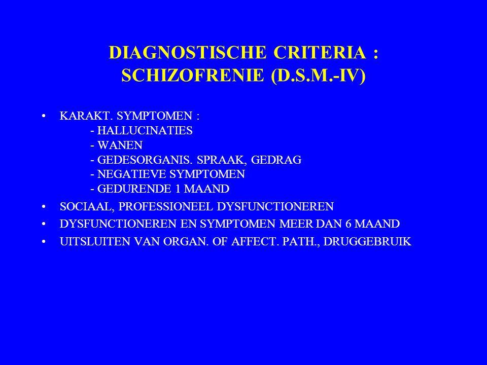 Schizofrenie Prevalentie (aantal in de bevolking) 0,2 - 1 % (België: 0,25 - 0,35 %) Ziekterisico doorsnee bevolking 1 % Eerste psychotische episode: a