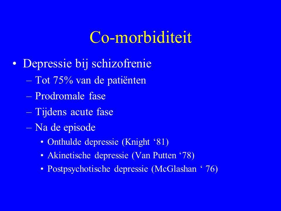 Symptomen Chronische negatieve symptomen –Beste predictor van ongunstige outcome –Gerelateerd aan cognitieve disfunctie –Beperkt sociaal functioneren
