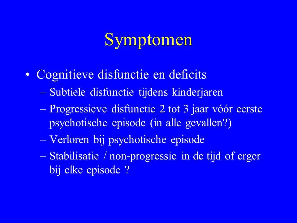 Co-morbiditeit Misbruik van middelen in de loop van het leven (Mueser, 1990) –Alcohol 30 - 40 % –Cannabis 45 - 66 % –Stimulantia 11 % –Hallucinogenen