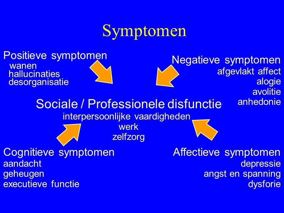 Symptomen Cognitieve disfunctie en deficits –Subtiele disfunctie tijdens kinderjaren –Progressieve disfunctie 2 tot 3 jaar vóór eerste psychotische ep