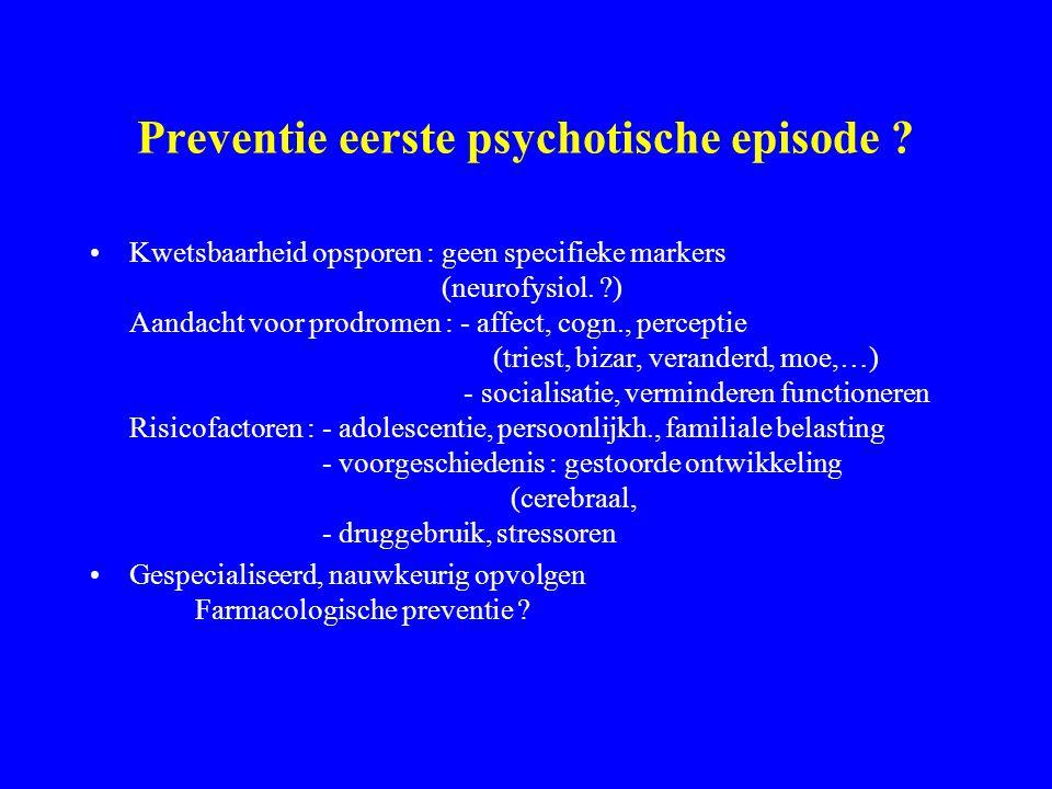 Verloop van schizofrene psychose (1) Voor de adolescentie: psychomot., soc. tekorten, beperkte lich., neurologische tekens. Eerste problemen, waarschu