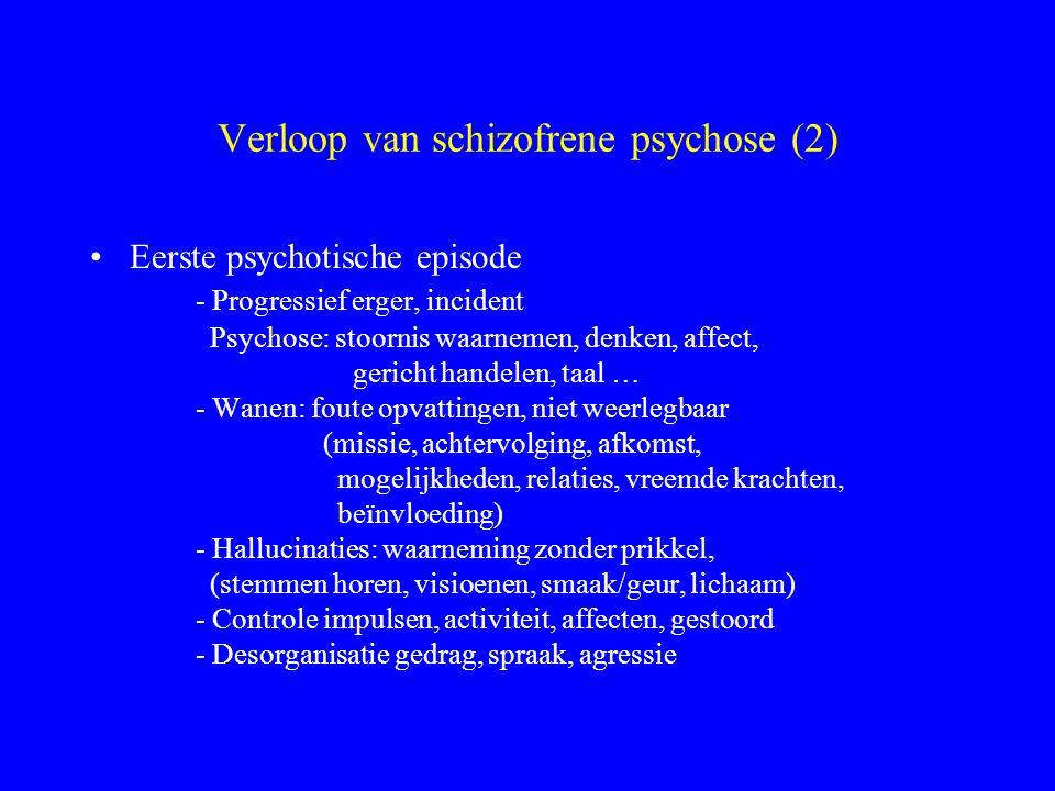 Verloop en resultaat Eerste psychotische episode De meeste eerste acute episoden worden voorafgegaan door prodromale symptomen. Occasioneel heeft de e