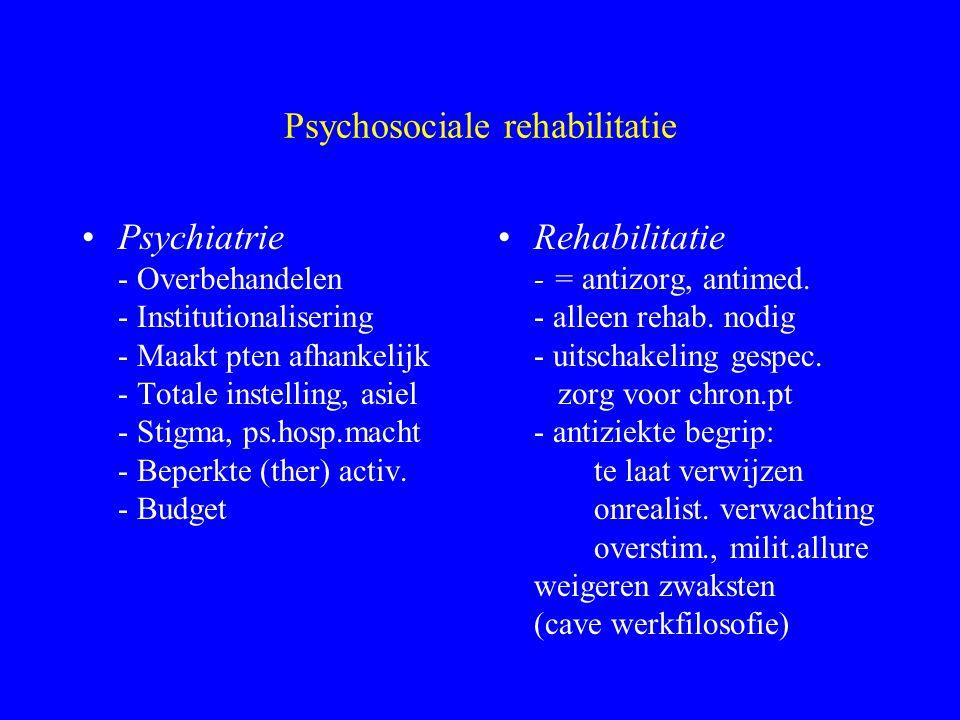 Psychosociale rehabilitatie Haalbare aanpak ? Relatie met psychiatrische hulpverlening - wie beste zorg, beste resultaten ? - concurrentie i.k.v. bepe