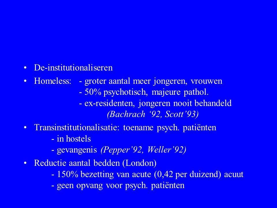 Psychosociale rehabilitatie Psychiatrie - Overbehandelen - Institutionalisering - Maakt pten afhankelijk - Totale instelling, asiel - Stigma, ps.hosp.