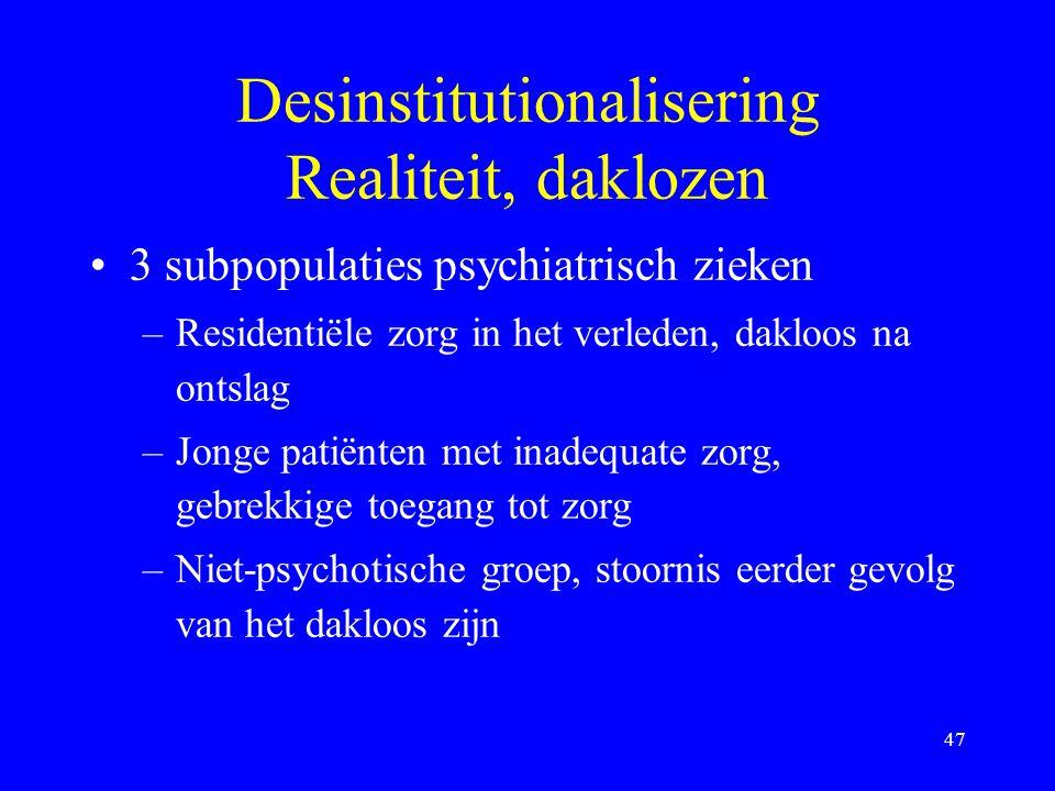 De-institutionaliseren Homeless:- groter aantal meer jongeren, vrouwen - 50% psychotisch, majeure pathol. - ex-residenten, jongeren nooit behandeld (B